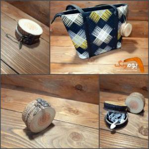 کیف هندزفری طرح چوبی